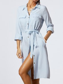 Solide Couleur Single-breasted Belted Denim Dress - Bleu Clair M