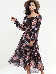 Manches longues Swingy Maxi Dress - Noir M