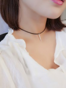 Metal Bar Choker Necklace - Silver