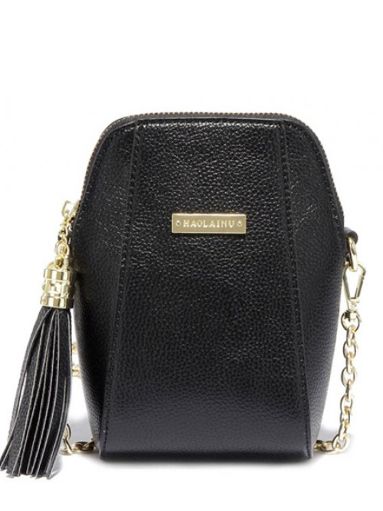 Tassel Chains PU Leather Crossbody Bag - BLACK  Mobile