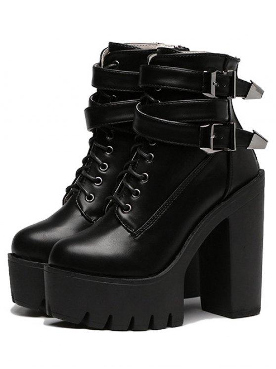 Double Buckle Platform Zipper Short Boots - BLACK 37 Mobile