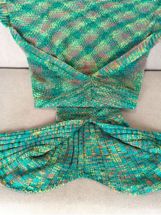 Knitted Super Soft Mermaid Tail Blanket - GREEN  Mobile