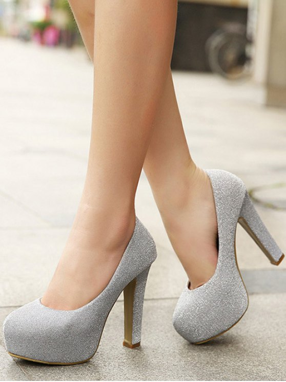 Sequined Cloth Platform Chunky Heel Pumps - SILVER 37 Mobile