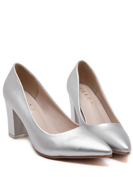 Pointed Toe Solid Color Pumps - SILVER 37 Mobile