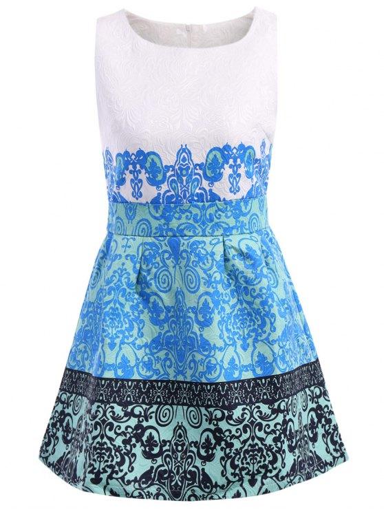 new Retro Print Scoop Collar Sundress - BLUE M