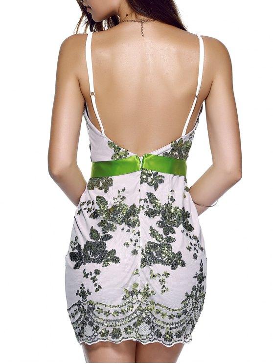 Spaghetti Strap V-Neck Sequined Floral Dress - GREEN M Mobile
