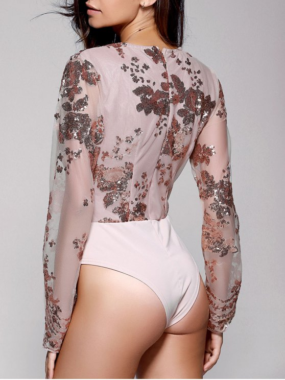 Floral Sequined Plunging Neck Long Sleeve Bodysuit - GOLDEN XS Mobile