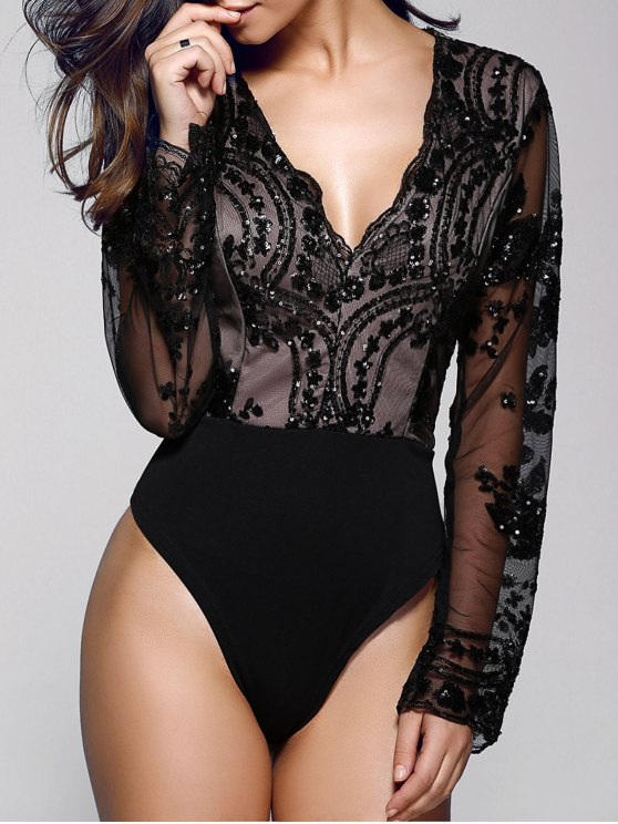 Floral Sequined Plunging Neck Long Sleeve Bodysuit - Black