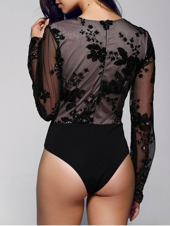 Floral Sequined Plunging Neck Long Sleeve Bodysuit - BLACK L Mobile