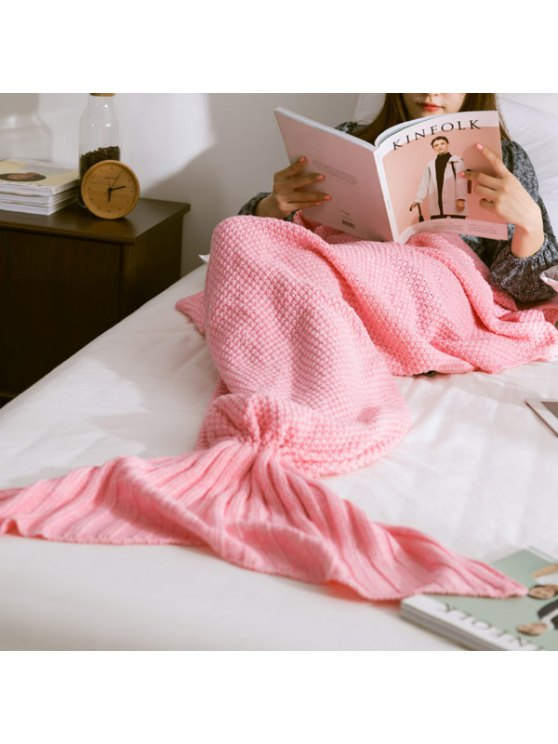 Warm Knitted Mermaid Tail Blanket - PINK M Mobile