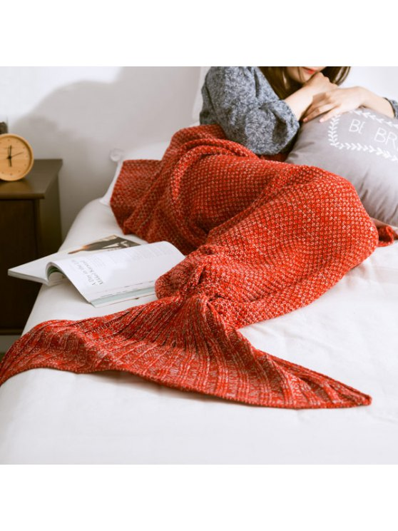 Warm Knitted Mermaid Tail Blanket - RED L Mobile