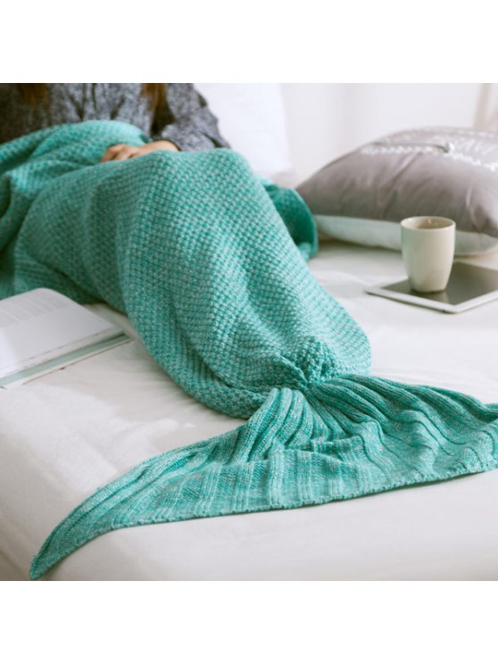 Warm Knitted Mermaid Tail Blanket - MINT GREEN M Mobile