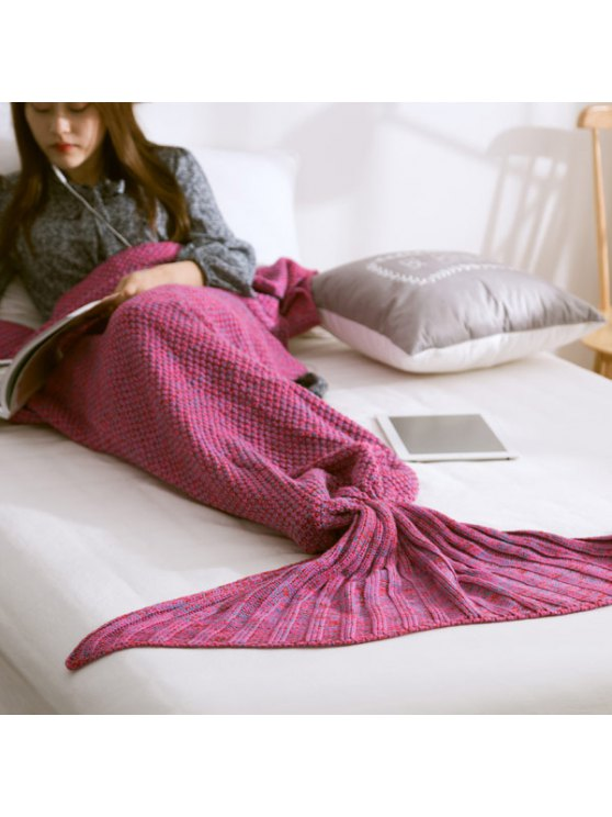 Warm Knitted Mermaid Tail Blanket - VIOLET L Mobile