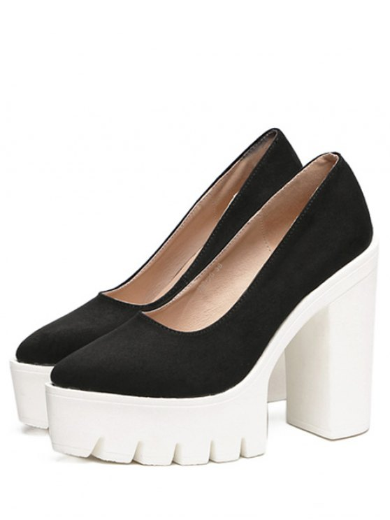 Platform Flock Chunky Heel Pumps - BLACK 38 Mobile