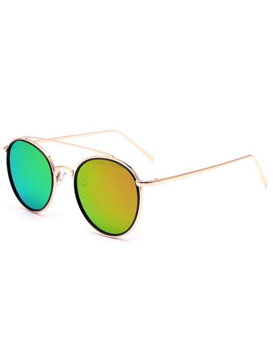 womens Crossbar Golden Mirrored Sunglasses - LIGHT GREEN
