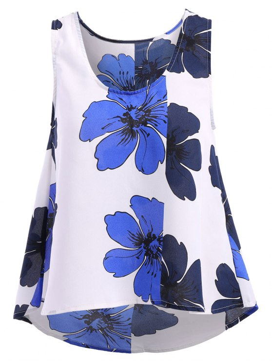 chic Floral Print Sleeveless Tank Top - WHITE M