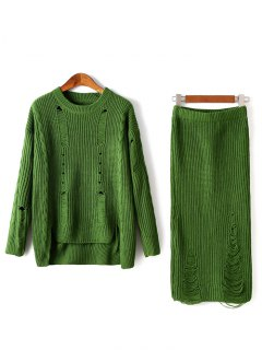 Ripped Sweater And Knitted Skirt Twinset - Green