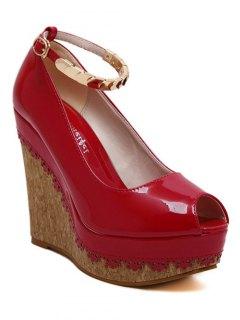 Ankle Strap Metal Platform Peep Toe Shoes - Red 38