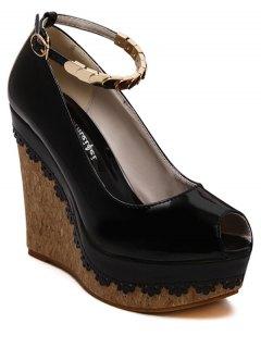 Ankle Strap Metal Platform Peep Toe Shoes - Black 37