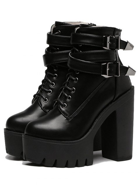 best Double Buckle Platform Zipper Short Boots - BLACK 38 Mobile