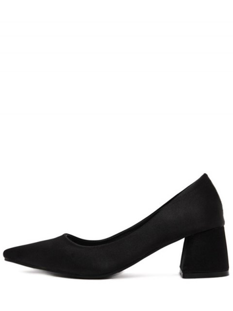 new Satin Black Color Pointed Toe Pumps - BLACK 38 Mobile