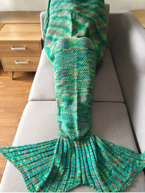 best Knitted Super Soft Mermaid Tail Blanket - GREEN  Mobile