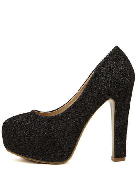 trendy Sequined Cloth Platform Chunky Heel Pumps - BLACK 39 Mobile