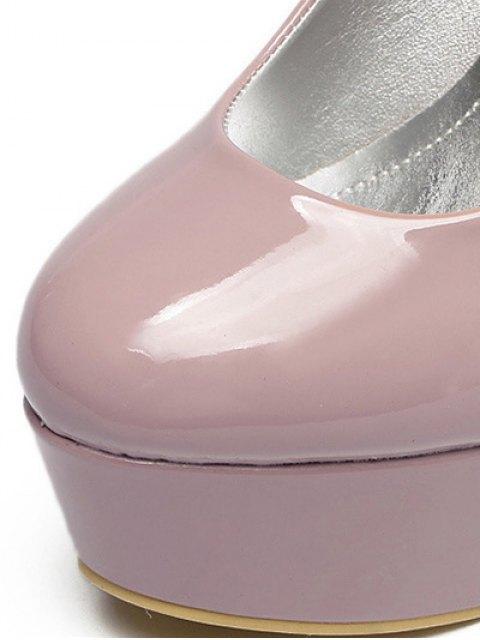 women Platform Solid Color Patent Leather Pumps - PINK 39 Mobile