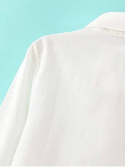 outfit Embroidery Shirt Collar Figure Pattern Shirt - WHITE L Mobile