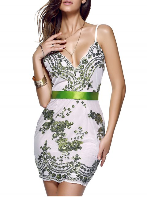 ladies Spaghetti Strap V-Neck Sequined Floral Dress - GREEN S Mobile