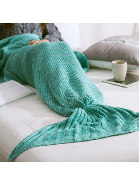 latest Warm Knitted Mermaid Tail Blanket - MINT GREEN M Mobile
