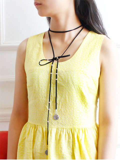buy Coin Layered Wrap Necklace - BLACK  Mobile
