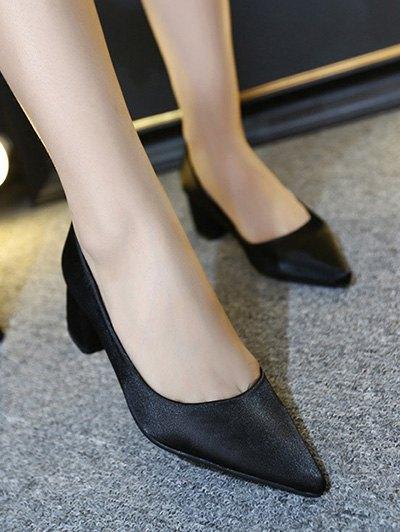 Satin Black Color Pointed Toe Pumps - BLACK 38 Mobile