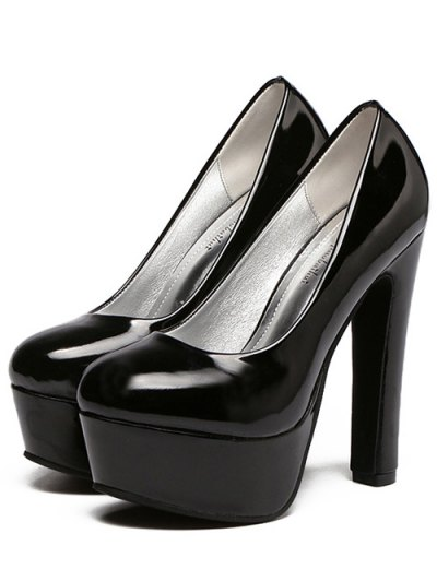 Platform Solid Color Patent Leather Pumps - BLACK 38 Mobile