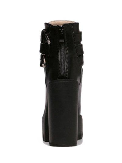 Double Buckle Platform Zipper Short Boots - BLACK 38 Mobile