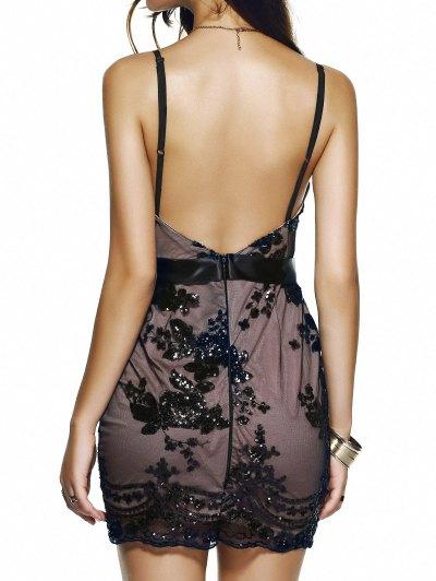 Spaghetti Strap V-Neck Sequined Floral Dress - BLACK M Mobile