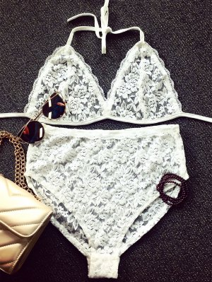 Lace Spaghetti Strap Bra And Briefs Lingeries Suit - White