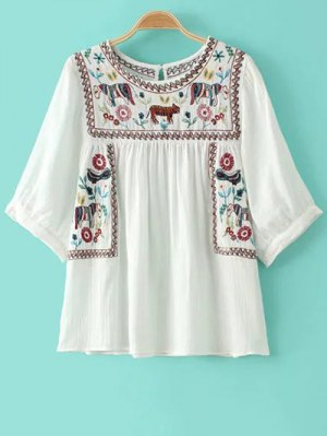 Animal Embroidery Round Neck 3/4 Sleeve Blouse - White