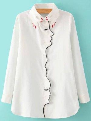 Embroidery Shirt Collar Figure Pattern Shirt - White