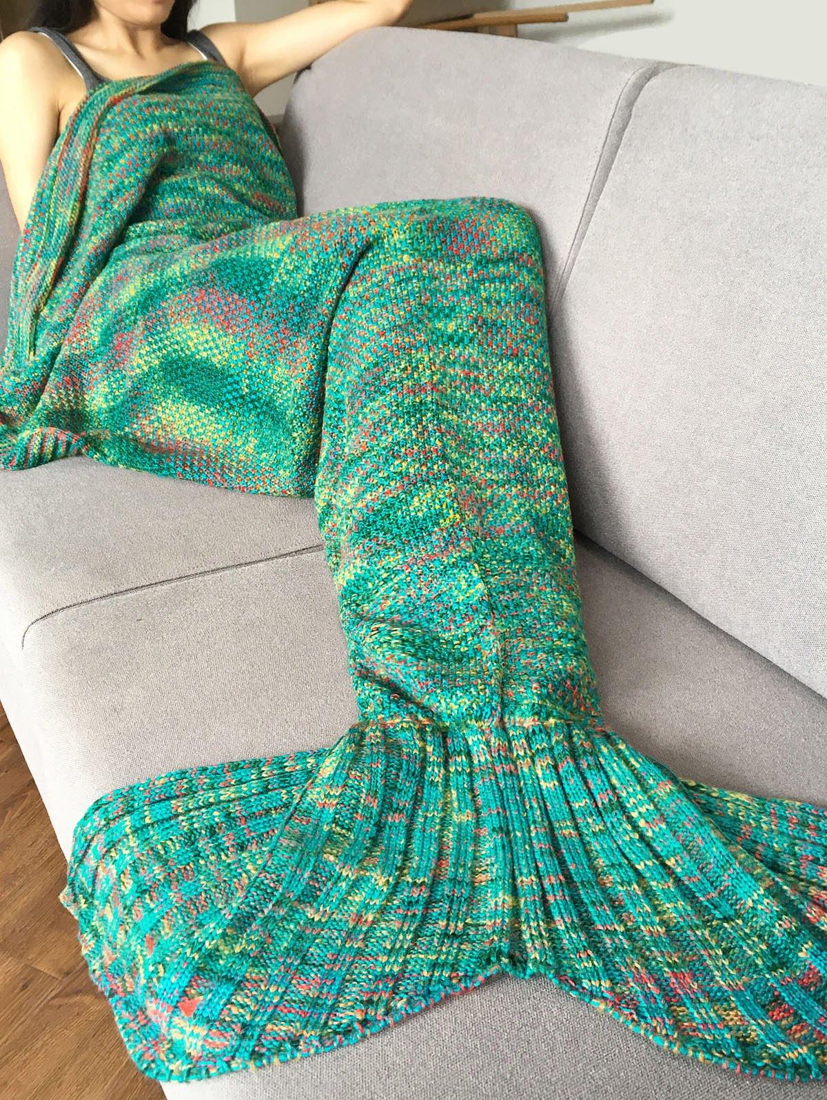 Crochet Knitted Super Soft Mermaid Tail Shape Blanket