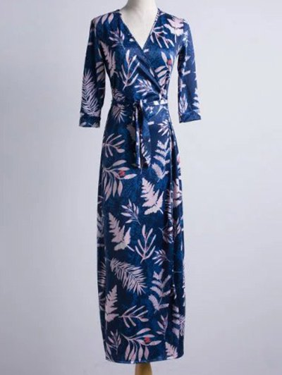 V Neck 3/4 Sleeve Maple Leaf Print Maxi Dress