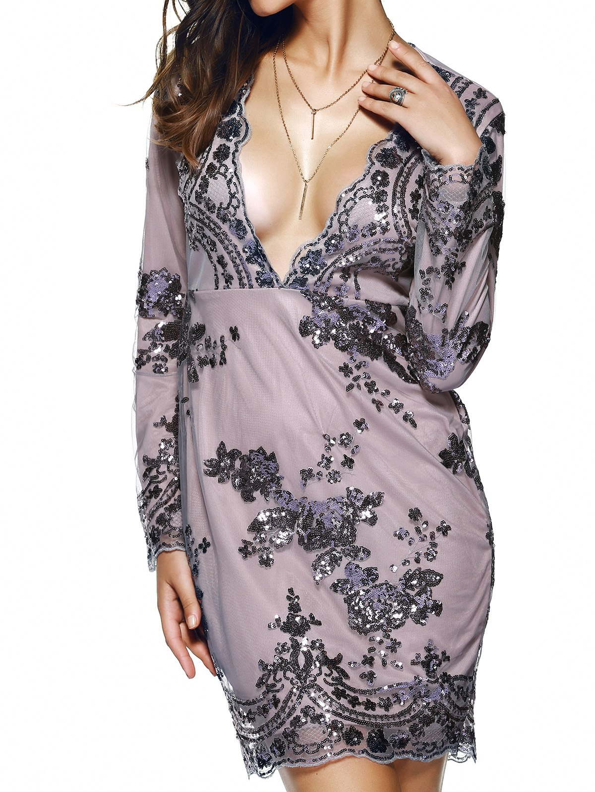 Plunge Neck Sequined Long Sleeve DressClothes<br><br><br>Size: M<br>Color: PURPLE