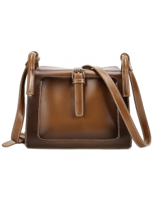 Buy Stitching Buckle PU Leather Crossbody Bag BROWN
