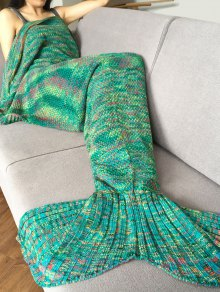 Knitted Super Soft Mermaid Tail Blanket - Green