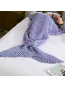 Warm Knitted Mermaid Tail Blanket - Light Purple L
