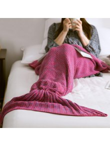 Warm Knitted Mermaid Tail Blanket - Violet