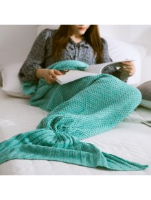 Warm Knitted Mermaid Tail Blanket - Mint Green S