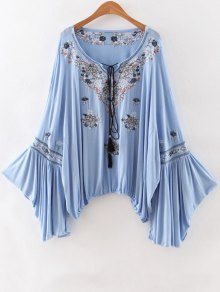 Embroidery Scoop Neck Loose Fitting Blouse - Light Blue L