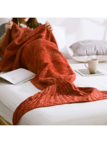 Warm Knitted Mermaid Tail Blanket - Red S