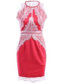 Lace Splicing Slit Sleeveless Dress